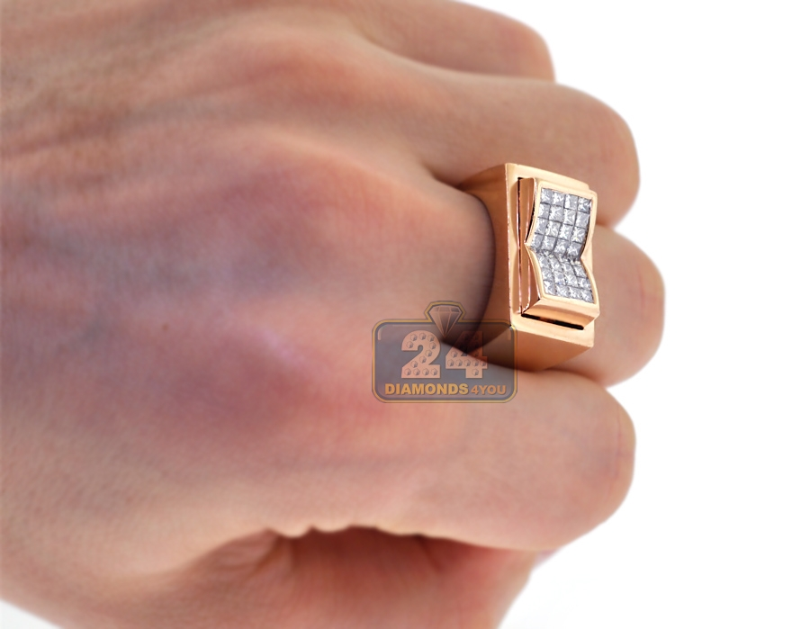Top Mens Princess Diamond Pinky Ring 14K Rose Gold 1.25 ct VT59