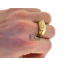 Mens Channel Diamond Step Pinky Ring 14K Yellow Gold 0.22 ct