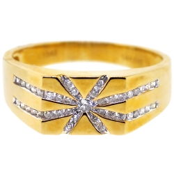 14K Yellow Gold 0.45 ct Diamond Mens Star Ring