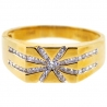 Mens Channel Set Diamond Star Band Ring 14K Yellow Gold 0.45 ct