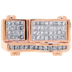 14K Rose Gold 1.14 ct Diamond Mens Rectangle Ring