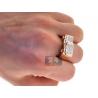 Mens Princess Diamond Rectangle Ring 14K Rose Gold 1.14 ct
