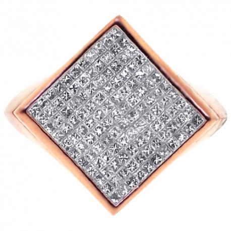 Mens Princess Diamond Square Pinky Ring 14K Rose Gold 1.37 ct