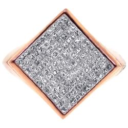14K Rose Gold 1.37 ct Diamond Mens Square Ring