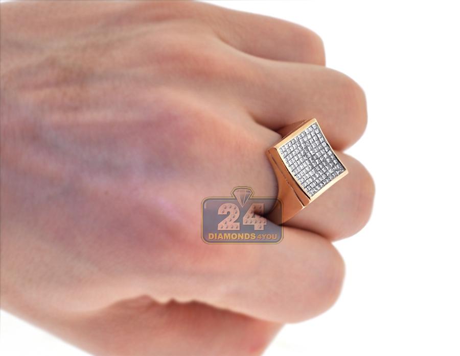 Mens Princess Diamond Square Pinky Ring 14K Rose Gold 1 37 ct