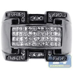 Black 14K White Gold 1.63 ct Diamond Mens Signet Ring