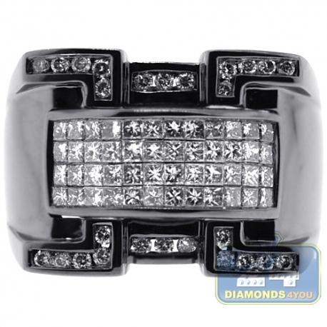 Black 14K White Gold 1.63 ct Diamond Mens Signet Ring