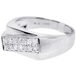 Mens Two Row Diamond Slant Pinky Ring 14K White Gold 0.35 ct