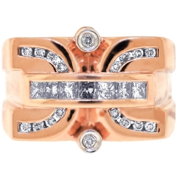 14K Rose Gold 1.33 ct Diamond Mens Pinky Ring