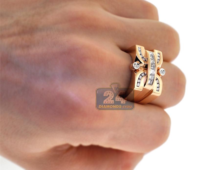 Mens Diamond Signet Pinky Ring 14k Rose Gold 1 33 Carat