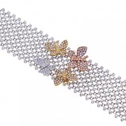 18K 3-Tone Gold 8.60 ct Diamond Butterfly Womens Mesh Bracelet