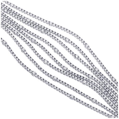 Womens 8 Row Diamond Tennis Bracelet 18K White Gold 19.94 ct