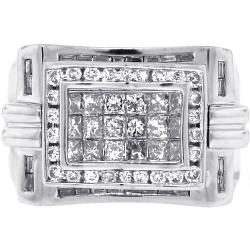 Mens Princess Cut Diamond Pinky Ring 14K White Gold 1.77 ct