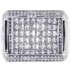 Mens Invisible Set Princess Diamond Ring 14K White Gold 2.48 ct