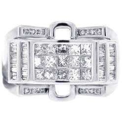 Mens Princess Baguette Diamond Pinky Ring 14K White Gold 1.63 ct