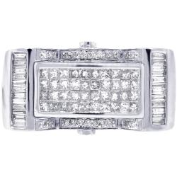 Mens Princess Cut Diamond Rectangle Ring 14K White Gold 1.26 ct