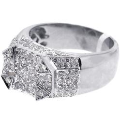 Mens Round Diamond High Pinky Ring 14K White Gold 1.91 ct