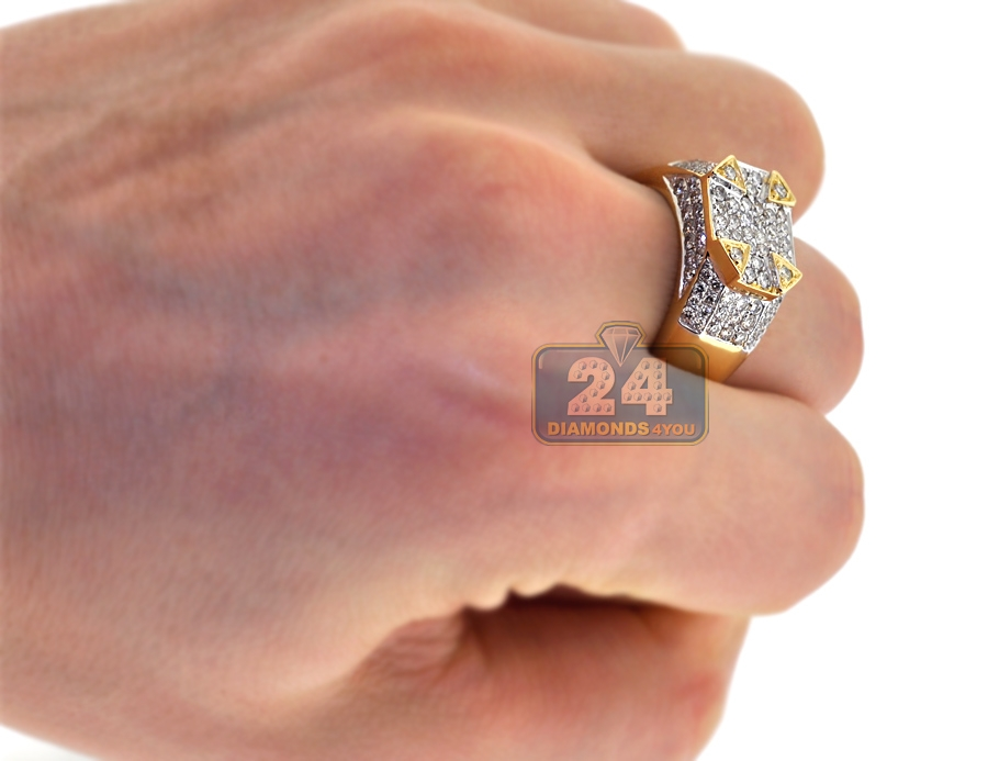 Mens Diamond High Pinky Ring 14k Yellow Gold 1 91 Carat