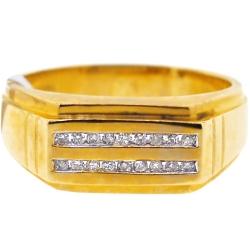 14K Yellow Gold 0.20 ct Two Row Diamond Mens Ring