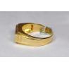 Mens Double Row Diamond Signet Ring 14K Yellow Gold 0.20 ct