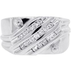 14K White Gold 0.42 ct Diamond Anniversary Mens Ring
