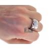 Mens Diamond Anniversary Slant Band Ring 14K White Gold 0.42 ct