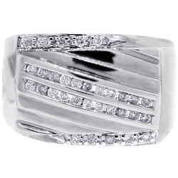 Mens Anniversary Diamond Signet Ring 14K White Gold 0.44 ct