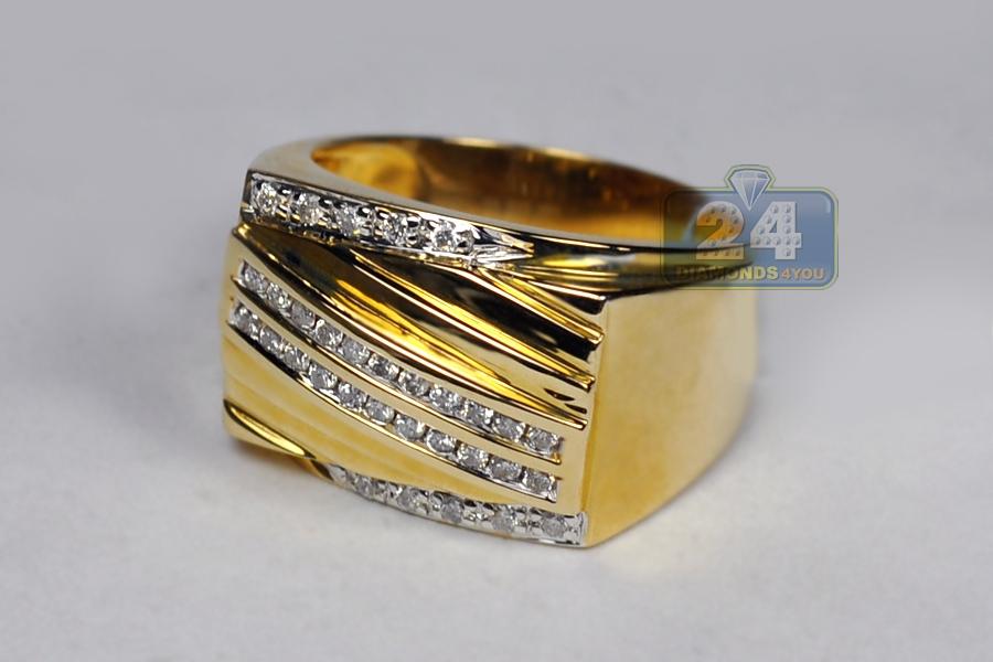 Mens diamond anniversary band ring k yellow gold carat