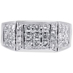 Mens Diamond Rectangle Pinky Ring 14K White Gold 1.53 Carat