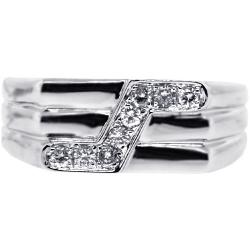 Mens Diamond Embossed Band Ring 14K White Gold 0.29 ct
