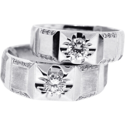 Diamond Bridal Ring Set for Him Her 18K White Gold 0.87 ct