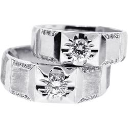 Diamond Bridal Rings Set for Him Her 18K White Gold 0.87 ct