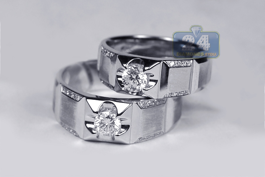 Diamond bridal bands rings set for him her 18k white gold for Diamond wedding ring for him