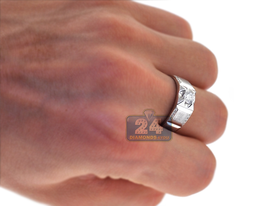 Diamond Bridal Bands Rings Set for Him Her 18K White Gold
