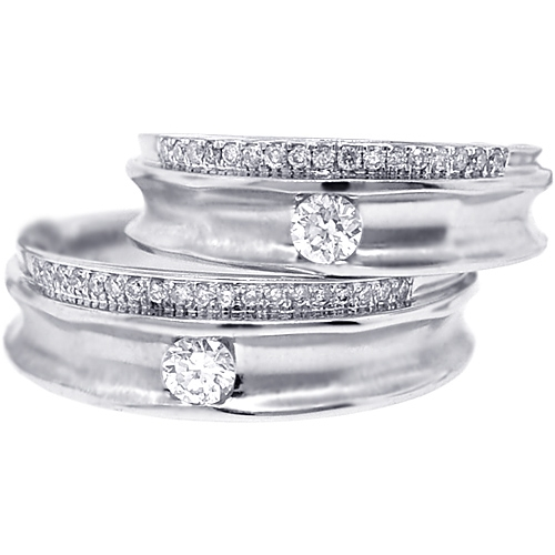 Diamond Wedding Rings Set For Him Her 18K White Gold 0.53 Ct