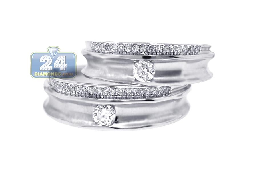 Diamond Wedding Rings Set For Him Her 18k White Gold 0 53 Ct