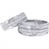 Diamond Wedding Bands Set for Him Her 18K White Gold 0.33 ct