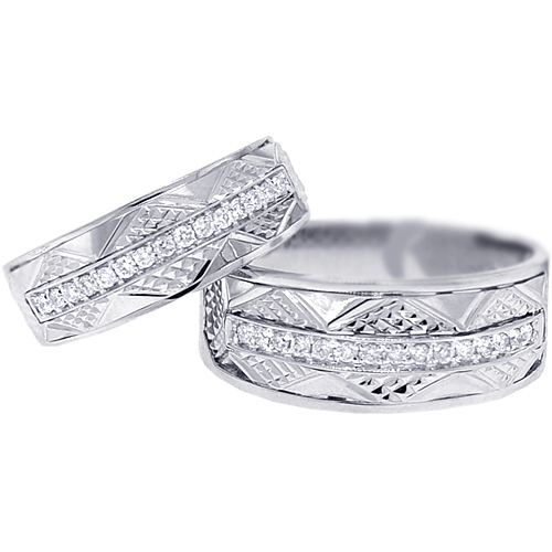 diamond wedding bands set for him her 18k white gold 033 ct - Diamond Wedding Rings For Her