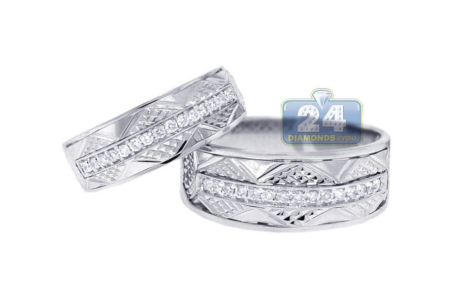 Diamond Wedding Bands Set For Him Her 18k White Gold 0 33 Ct