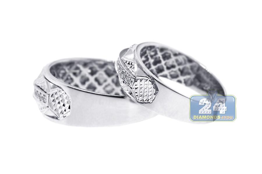 diamond wedding bands set for him her 18k white gold 033 ct - White Gold Diamond Wedding Rings
