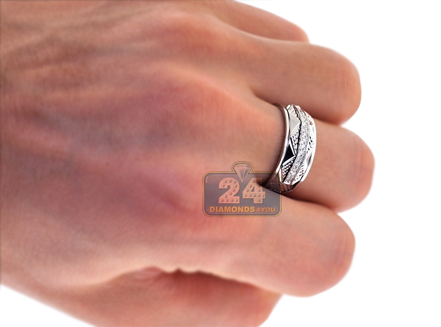 ... Diamond Wedding Bands Set For Him Her 18K White Gold 0.33 Ct ...