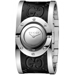 Gucci Twirl Bangle Steel Black Leather Watch YA112441