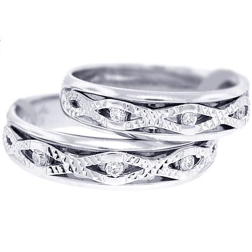 Diamond Two Wedding Bands Antique Set 18K White Gold 014ct