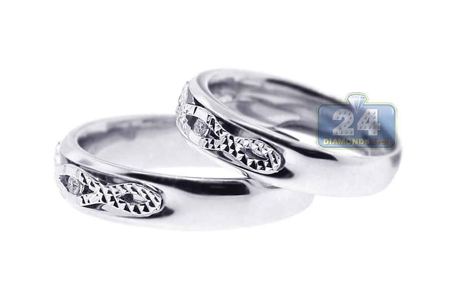 Diamond Two Wedding Bands Set 18K White Gold 014 Ct