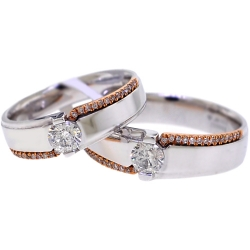 Diamond Wedding Bands His Her Set 18K Two Tone Gold 093 Ct