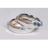 Diamond Wedding Bands His Her Set 18K Two Tone Gold 0.93 ct