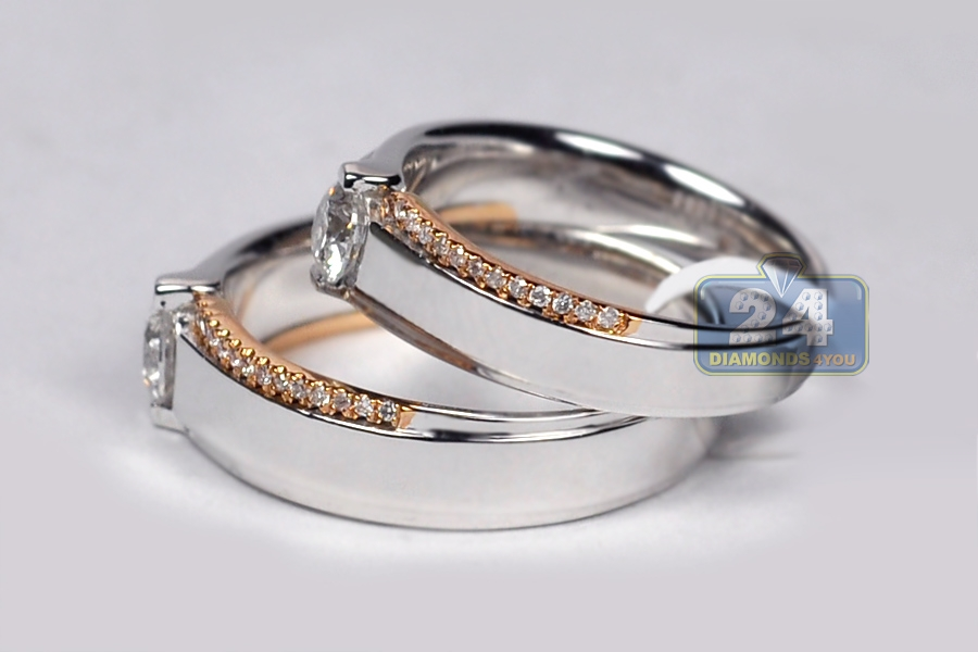 and wedding diamond bands hers his two gold mainwh luxurman by tone set