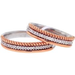 Diamond Wedding Rings His Her Set 18K Two Tone Gold 0.28 ct