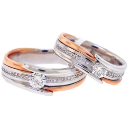 Diamond Two Wedding Bands Set 18K Two Tone Gold 0.78 ct