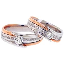 Diamond Two Wedding Bands Set 18K Two Tone Gold 0.78 ct